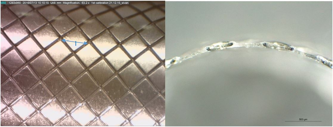 Left: Medibrane encapsulation Stent coating, Right: cross sectional stent profile